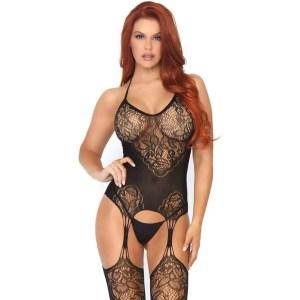 Jacquard Net Suspender Bodystocking
