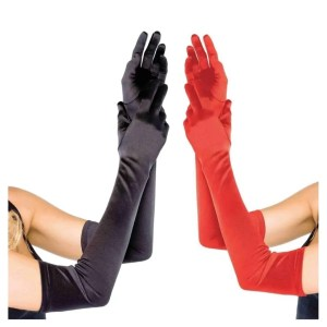 Extra Long Opera Length Satin Gloves in Black, Red and White