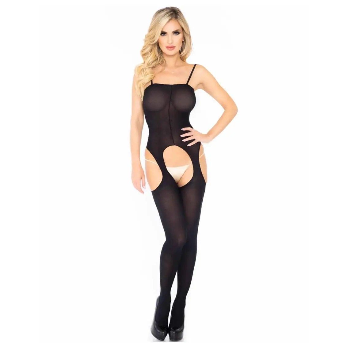 Truth or Dare Opaque Crotchless Suspender Bodystocking by Leg Avenue