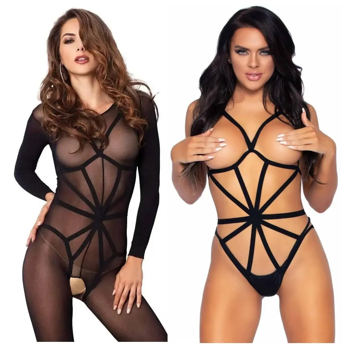 Double Feature Teddy and Bodystocking Set by Leg Avenue