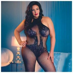 Scandal Plus Size Halter Lace Body Suit - by Calexotics