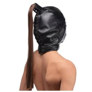 Strict - Ponytail Leather Bondage Hood