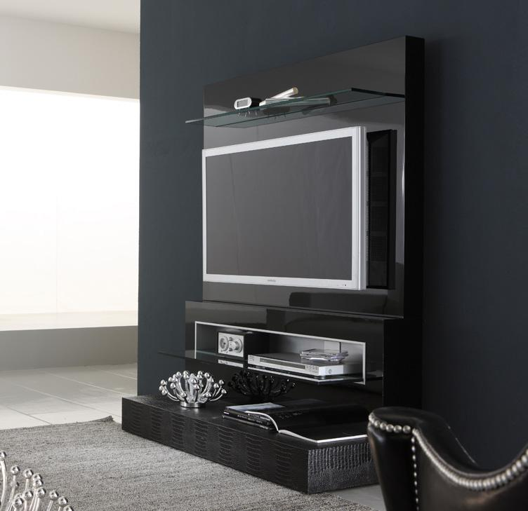 Black Diamond Wall Mounted Modern Tv Cabinets Design