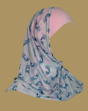 Girl's Printed Two Piece Hijab ch404