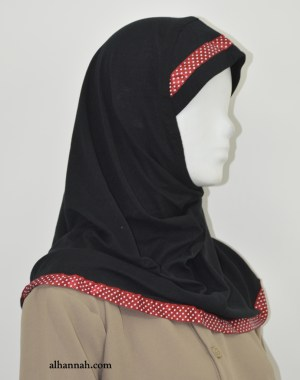 Girls AlAmirah Hijab with Polka Dot Applique ch506