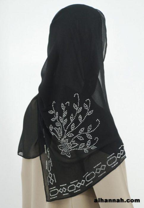 Beaded Floral Pattern Chiffon Hijab hi1791