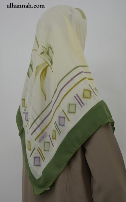 Square Hijab with Geometric Floral-Accent Print hi2034