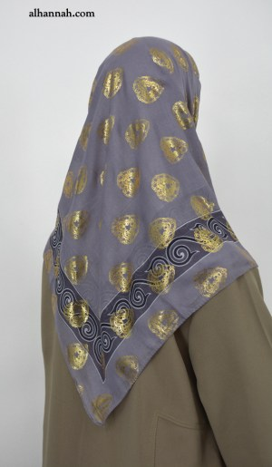Turkish Hijab with Gold Paisley Heart Print hi2054
