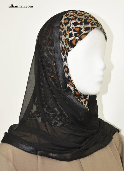 Kuwaiti Wrap Hijab with Leopard Print hi2059