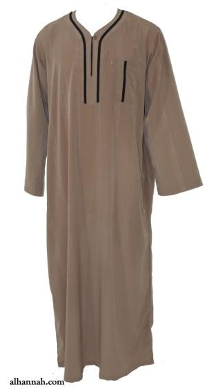 Ikaf Moroccan Style Dishdasha with Trim me691