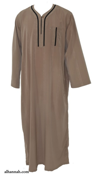 Ikaf Moroccan Style Dishdasha with Trim me691
