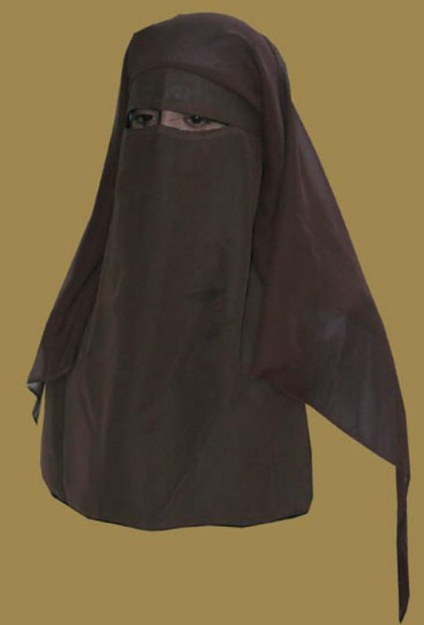 Traditional Saudi style triple layered burqa - with string ni133
