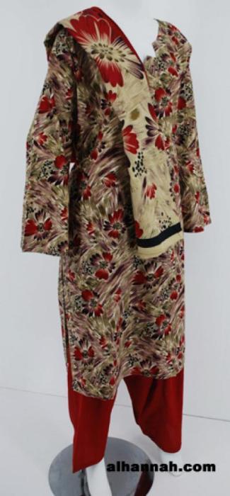 Daisy Brushstrokes Print Cotton Salwar Kameez  sk1141