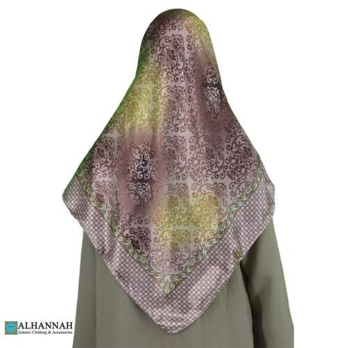 Damask Print Satin Hijab hi2081