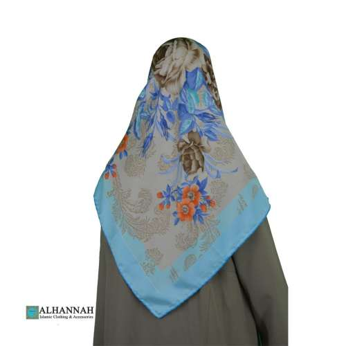 Turkish Satin Floral Hijab hi2084