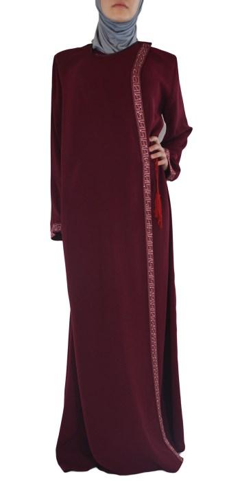 Khalila - Maroon Wrap-Around Abaya Front
