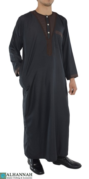 Sleek Black and Brown Thobe with Frontal Embroidery
