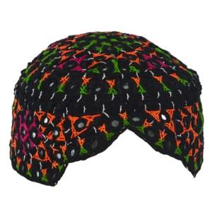 Sindhi Cap Shisha Embroidered Topi with Multicolored Web Patterns ME714 Black
