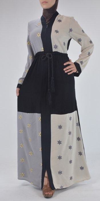 Starflower Rhinestone Abaya - Full Length Zipper ab691 (5)