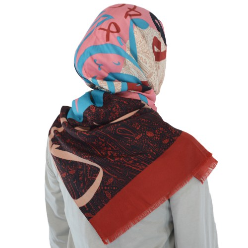 Stylish Arabic Calligraphy Hijab with Paisley Pattern Multicolored - HI2098