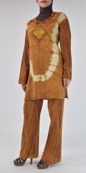 Tie-Dye triturado de algodón de terciopelo retro 70s Salwar Kameez