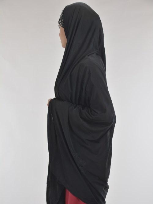 Black Rhinestone Floral-Imprint Al-Amira KhimarHijab HI2110 (122)