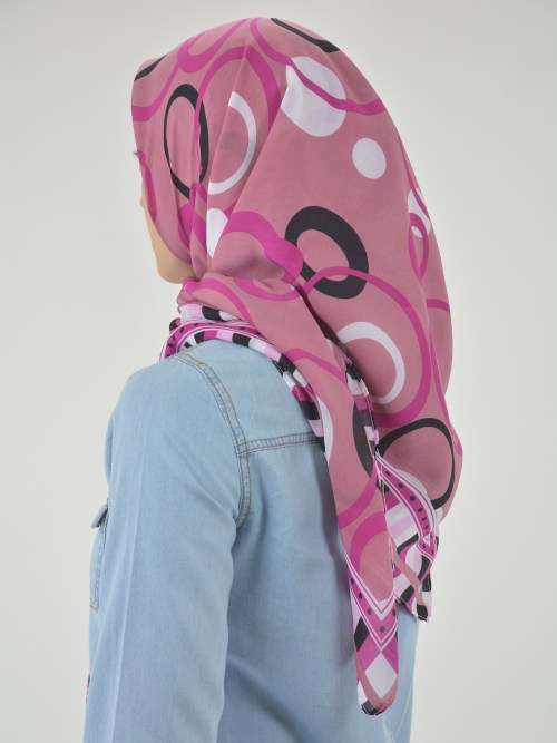 Checkered Bubbles Square Hijab HI2121 (3)