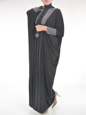 Striped Rhinstone Motif Abaya | AB699