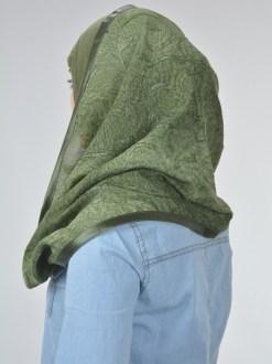 Glitter Swirls Twister Kuwaiti Wrap Hijab Green (2)