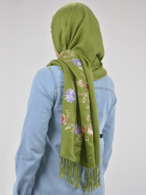 Tasseled Floral Sprouts Shayla Wrap Hijab HI2127 (5)