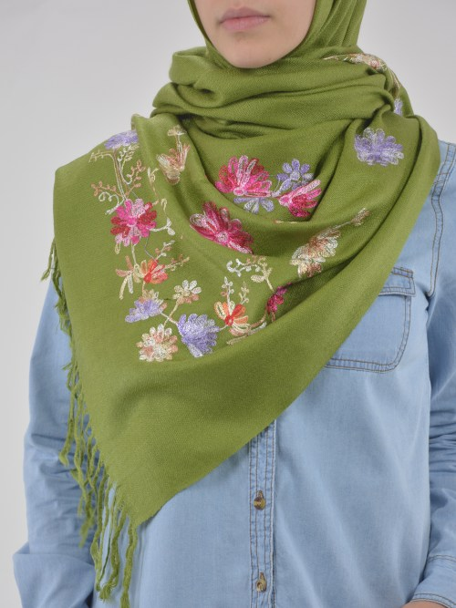 Tasseled Floral Sprouts Shayla Wrap Hijab HI2127 (8)