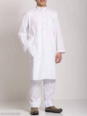 Botón bordado con remolinos barrocos Blanco Salwar Kameez ME745 (7)