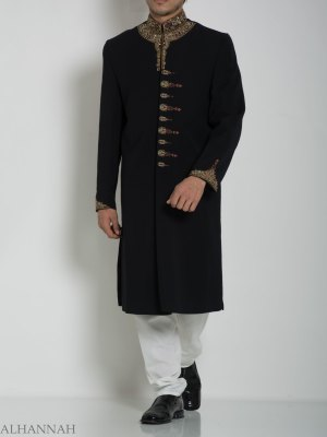 Black Embellished Paisley Plain Jacquard Designer Sherwani ME758 (4)