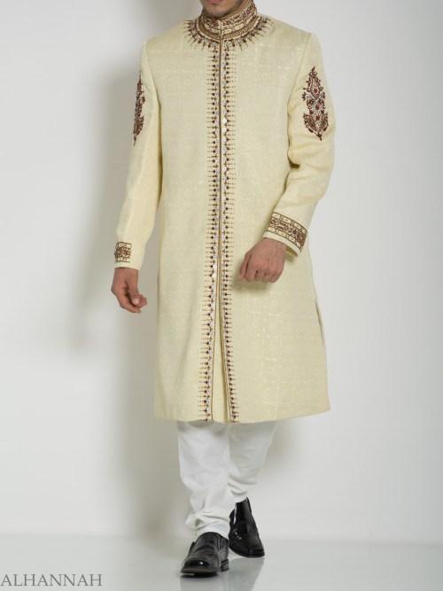 Embellished Arms Mandala Jacquard Designer Sherwani ME756 (2)