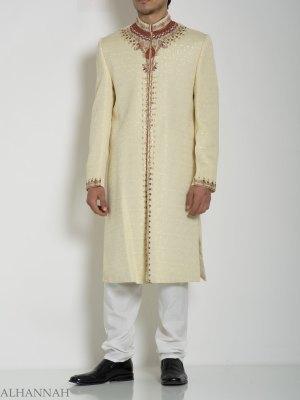 Marfil embellecido Mandala Jacquard Diseñador Sherwani ME760 (6)