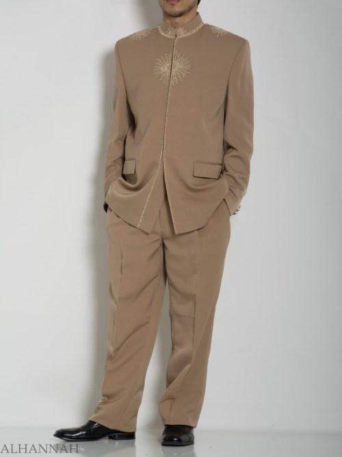 Tan Embroidered Plain Jacquard Designer Sherwani Suit ME757