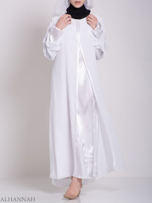 Layered Satin Rhinestone Bridal Abaya ab704 (2)