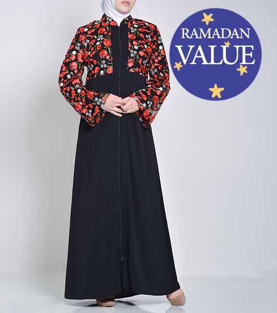 Mujer-musulmana-islámica-Ropa-preciosa-floral-Abaya-valor-especial-Ramadan-Eid-51818