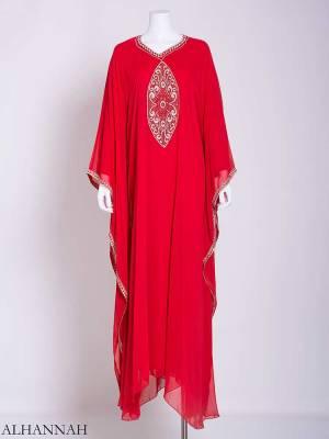 Flowy Arabesque Embroidered Chiffon Abaya ab715 (1)