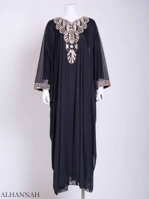 Flowy Black and White Petal Embroidered Chiffon Abaya ab716 (1)