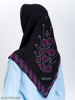 Lollipop Firework Purple Rhinestone Square Hijab hi2166
