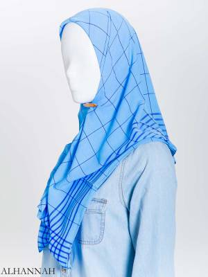 Solid Color Plaid Square Hijab hi2167 (15)