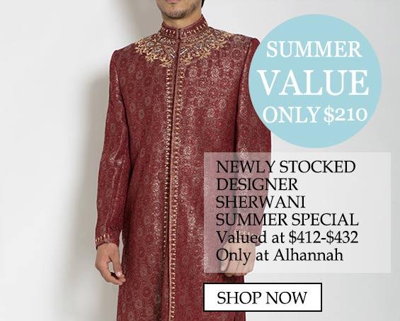 Chaquetas Sherwani para hombre musulmanas con vestimenta islámica - Valor de verano solamente $ 210, valor especial de Sherwani Summer para diseñador recientemente surtido en $ 412- $ 432 solo en alhannah comprar ahora