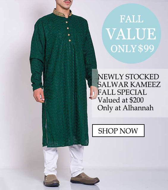 Mens muslim islamic clothing salwar kameez fall special - fall value only $99, newly stocked salwar kameez summer special valued at $200 only at alhannah Shop now