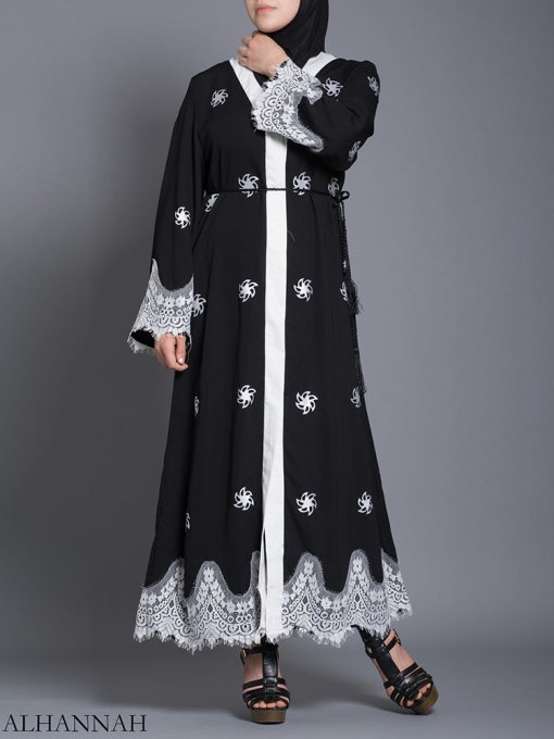 Floral Lace-Lined Button-up Abaya ab729 (1)