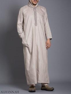Striped Broderte Hooded Ikaf Thobe me789 (2)