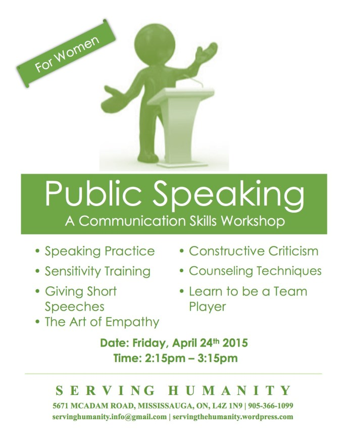 Public Speaking Workshop Flyer