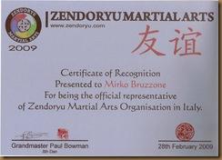 Certificato Referente per l' Italia del Zendoryu