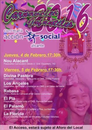 Carnaval infantil 2016 en los barrios de Alicante.