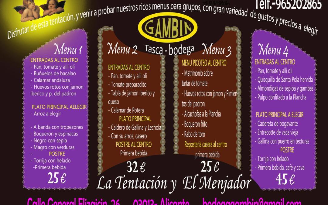 El menu de Bodega Gambin
